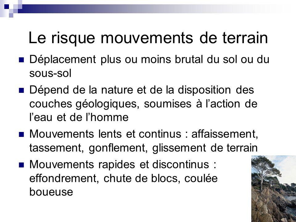 Le risque mouvements de terrain Déplacement plus ou moins brutal du sol ou du sous-sol Dépend de la nature et de la disposition des couches géologique