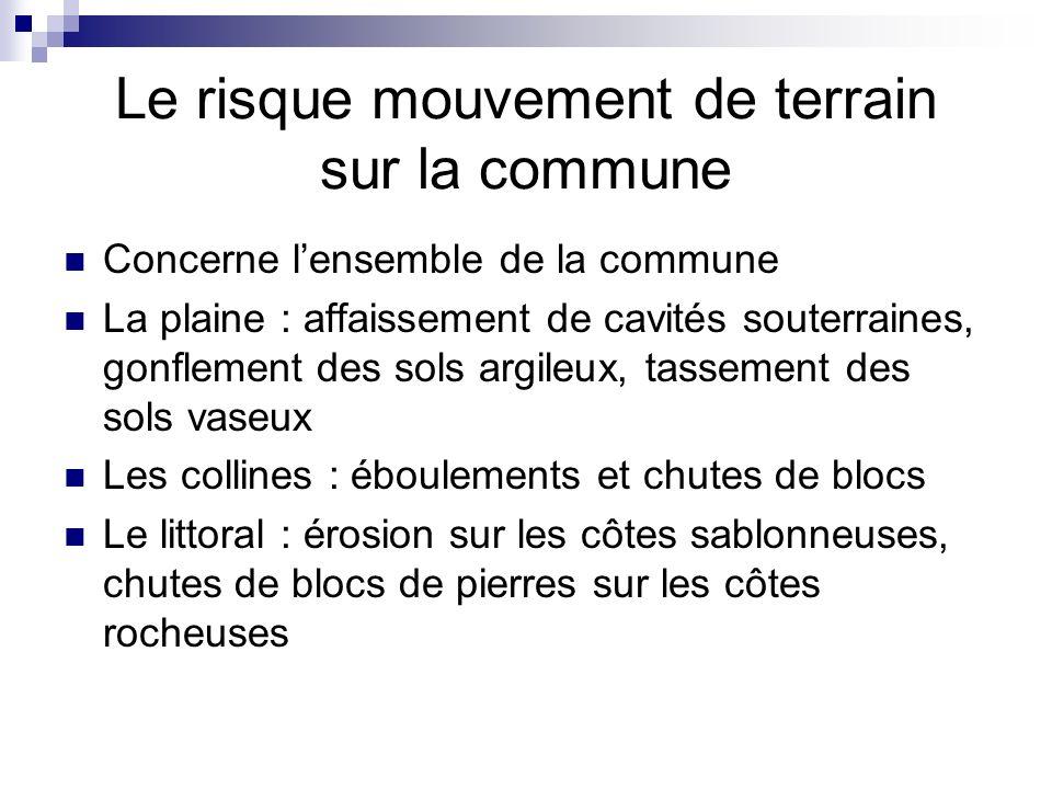 Le risque mouvement de terrain sur la commune Concerne lensemble de la commune La plaine : affaissement de cavités souterraines, gonflement des sols a