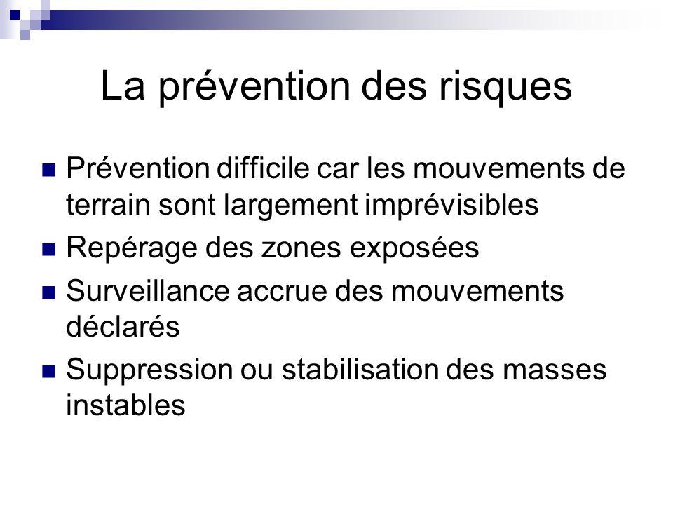 La prévention des risques Prévention difficile car les mouvements de terrain sont largement imprévisibles Repérage des zones exposées Surveillance accrue des mouvements déclarés Suppression ou stabilisation des masses instables
