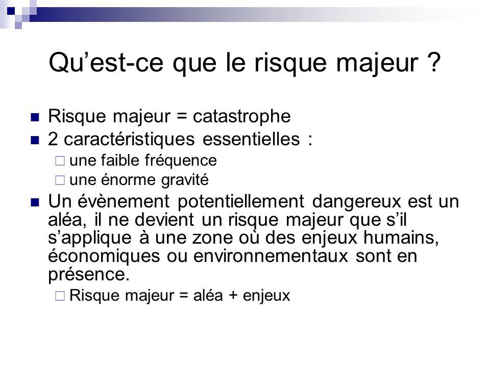 Quest-ce que le risque majeur ? Risque majeur = catastrophe 2 caractéristiques essentielles : une faible fréquence une énorme gravité Un évènement pot
