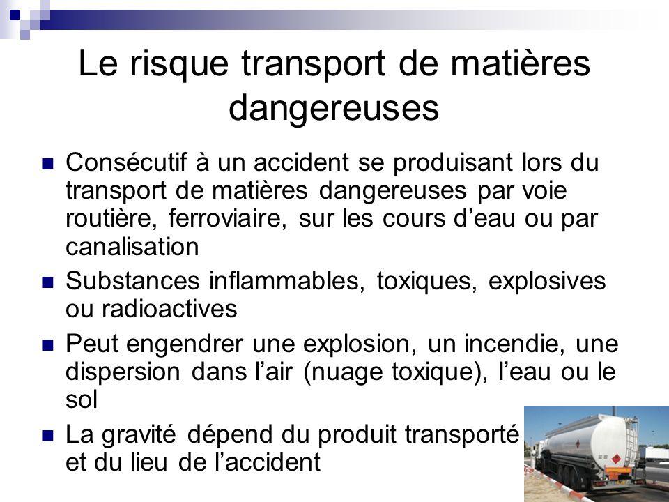 Le risque transport de matières dangereuses Consécutif à un accident se produisant lors du transport de matières dangereuses par voie routière, ferrov