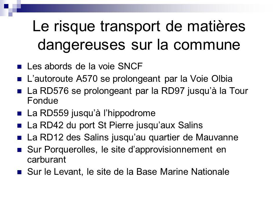Le risque transport de matières dangereuses sur la commune Les abords de la voie SNCF Lautoroute A570 se prolongeant par la Voie Olbia La RD576 se prolongeant par la RD97 jusquà la Tour Fondue La RD559 jusquà lhippodrome La RD42 du port St Pierre jusquaux Salins La RD12 des Salins jusquau quartier de Mauvanne Sur Porquerolles, le site dapprovisionnement en carburant Sur le Levant, le site de la Base Marine Nationale
