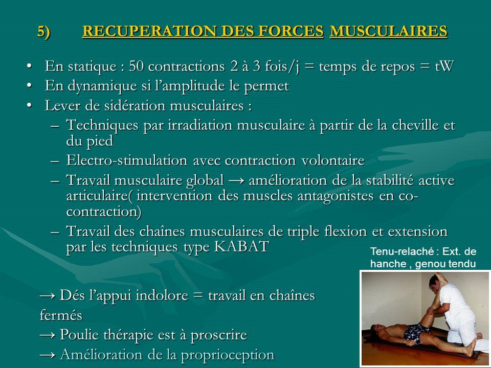 5)RECUPERATION DES FORCES MUSCULAIRES En statique : 50 contractions 2 à 3 fois/j = temps de repos = tWEn statique : 50 contractions 2 à 3 fois/j = tem
