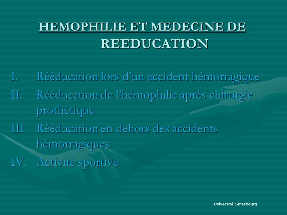 HEMOPHILIE ET MEDECINE DE REEDUCATION HEMOPHILIE ET MEDECINE DE REEDUCATION I.Rééducation lors dun accident hémorragique II.Rééducation de lhémophilie