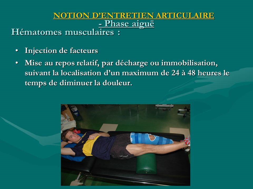 - Phase aiguë Injection de facteursInjection de facteurs Mise au repos relatif, par décharge ou immobilisation, suivant la localisation dun maximum de