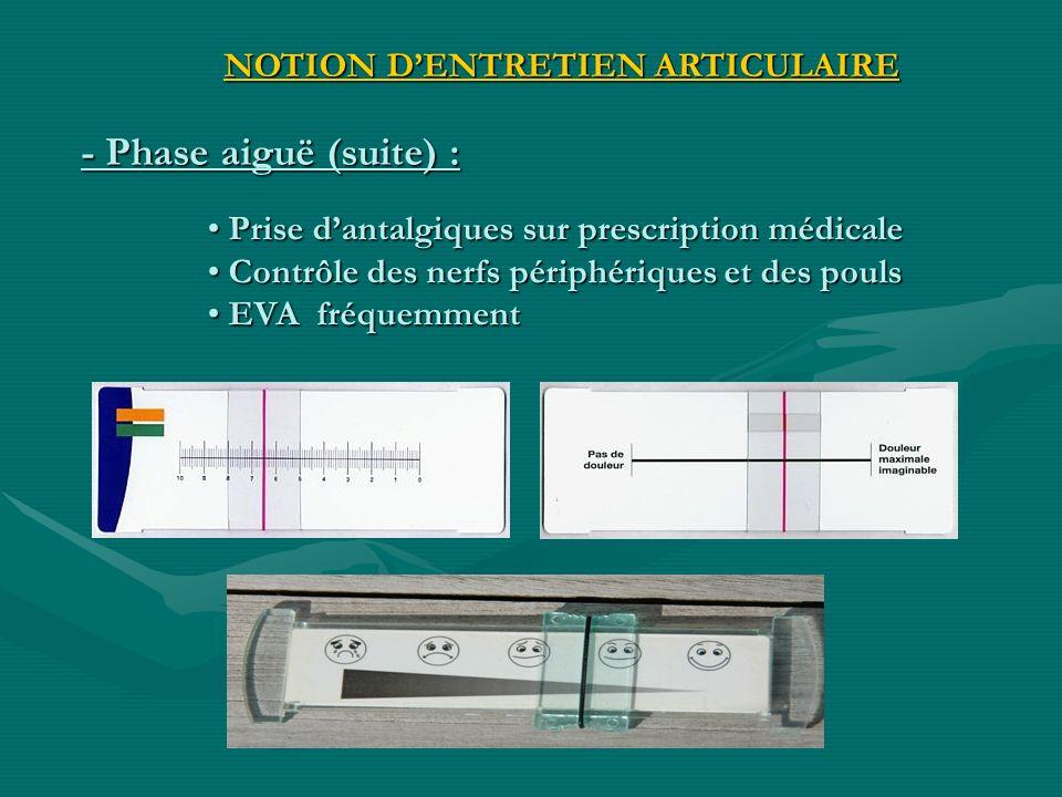 - Phase aiguë (suite) : NOTION DENTRETIEN ARTICULAIRE Prise dantalgiques sur prescription médicale Prise dantalgiques sur prescription médicale Contrô
