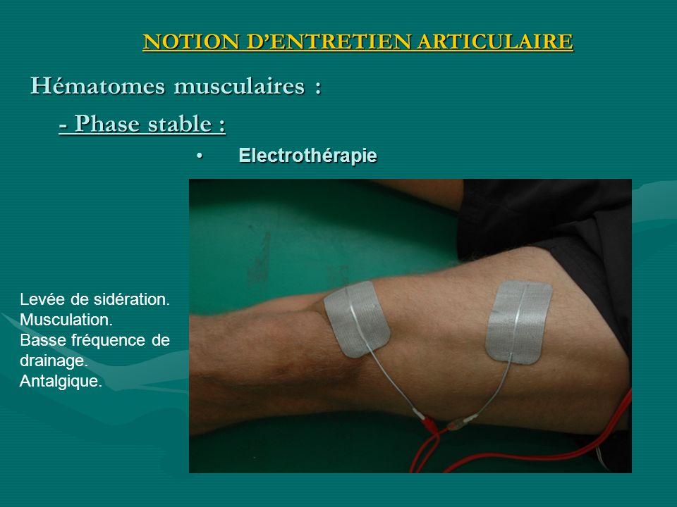 Electrothérapie Electrothérapie Levée de sidération. Musculation. Basse fréquence de drainage. Antalgique. - Phase stable : NOTION DENTRETIEN ARTICULA