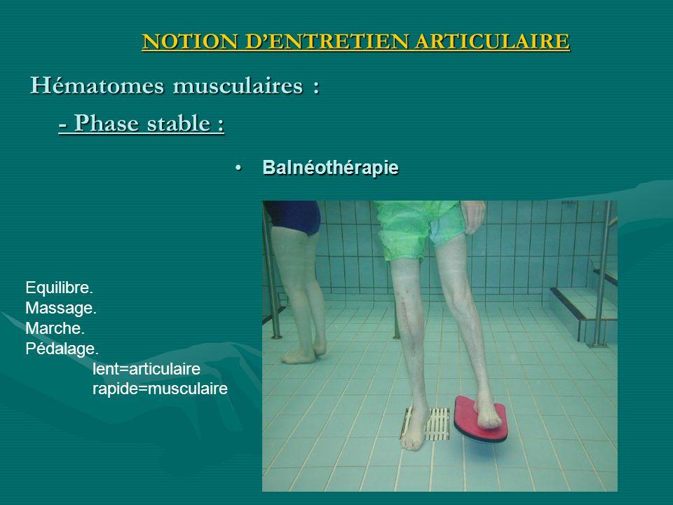 Balnéothérapie Balnéothérapie Equilibre. Massage. Marche. Pédalage. lent=articulaire rapide=musculaire - Phase stable : NOTION DENTRETIEN ARTICULAIRE