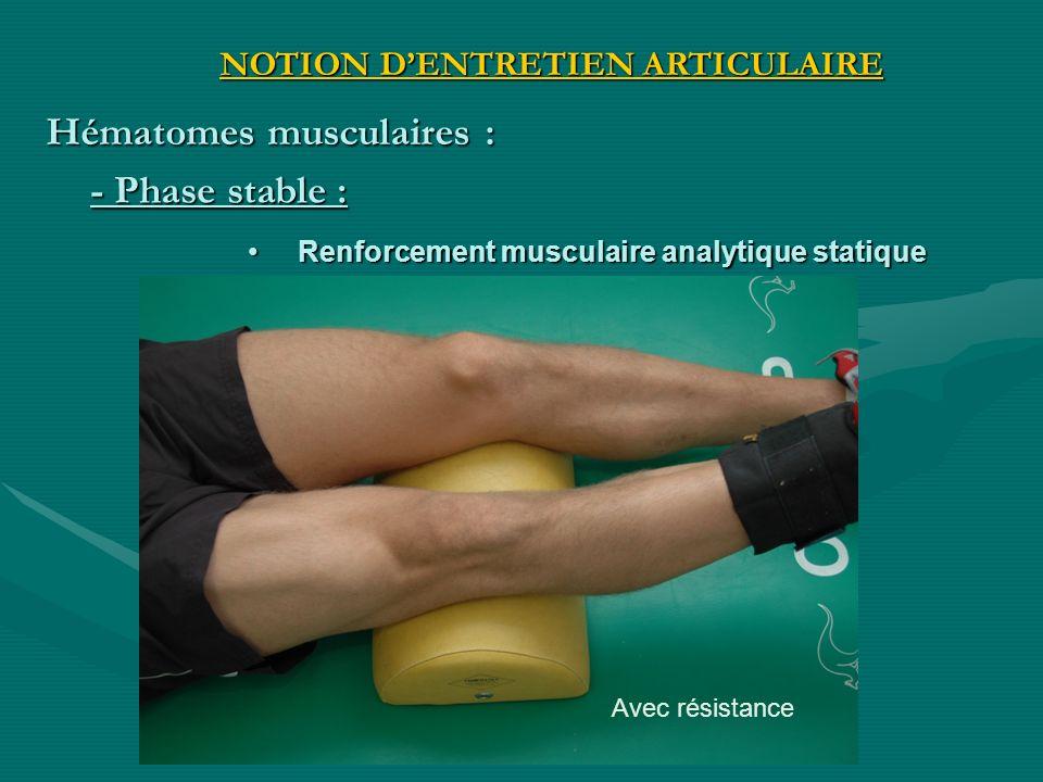 Avec résistance Renforcement musculaire analytique statique Renforcement musculaire analytique statique - Phase stable : NOTION DENTRETIEN ARTICULAIRE