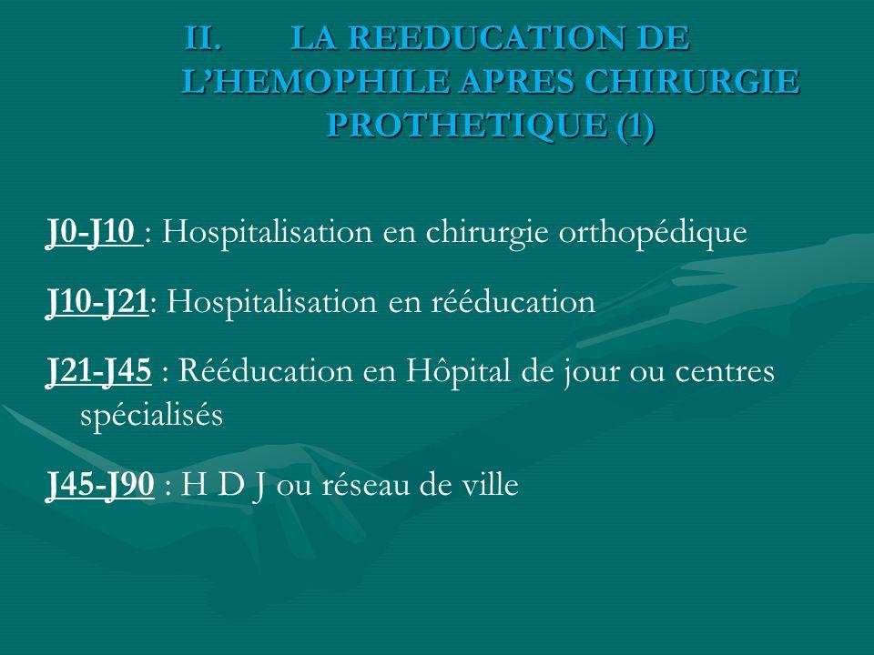 II.LA REEDUCATION DE LHEMOPHILE APRES CHIRURGIE PROTHETIQUE (1) J0-J10 : Hospitalisation en chirurgie orthopédique J10-J21: Hospitalisation en rééduca