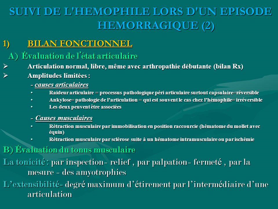 1)BILAN FONCTIONNEL A) Évaluation de létat articulaire A) Évaluation de létat articulaire Articulation normal, libre, même avec arthropathie débutante