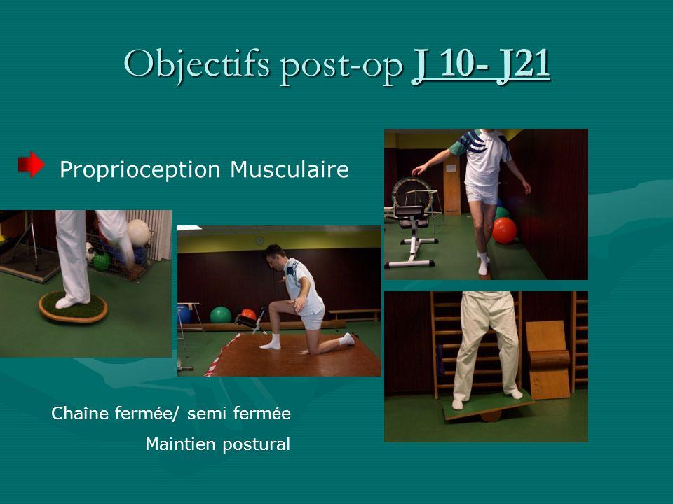 Proprioception Musculaire Cha î ne ferm é e/ semi ferm é e Maintien postural Objectifs post-op J 10- J21