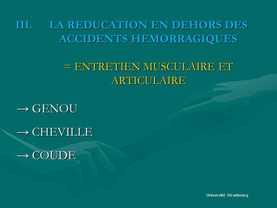 III.LA REDUCATION EN DEHORS DES ACCIDENTS HEMORRAGIQUES = ENTRETIEN MUSCULAIRE ET ARTICULAIRE GENOU GENOU CHEVILLE CHEVILLE COUDE COUDE Universit é St