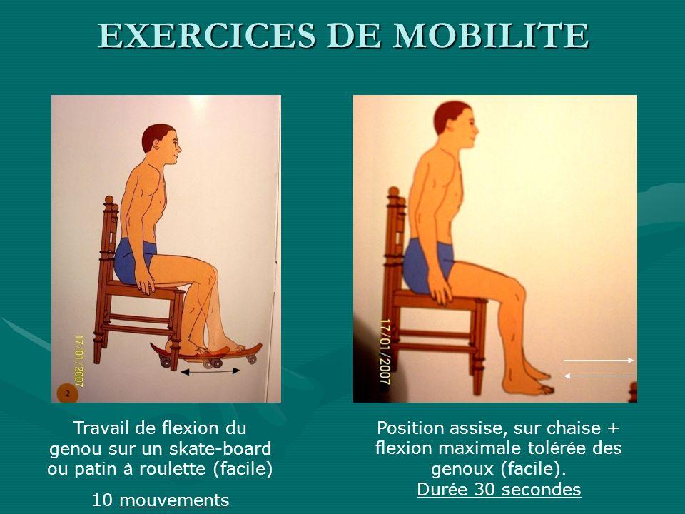 EXERCICES DE MOBILITE Travail de flexion du genou sur un skate-board ou patin à roulette (facile) 10 mouvements Position assise, sur chaise + flexion