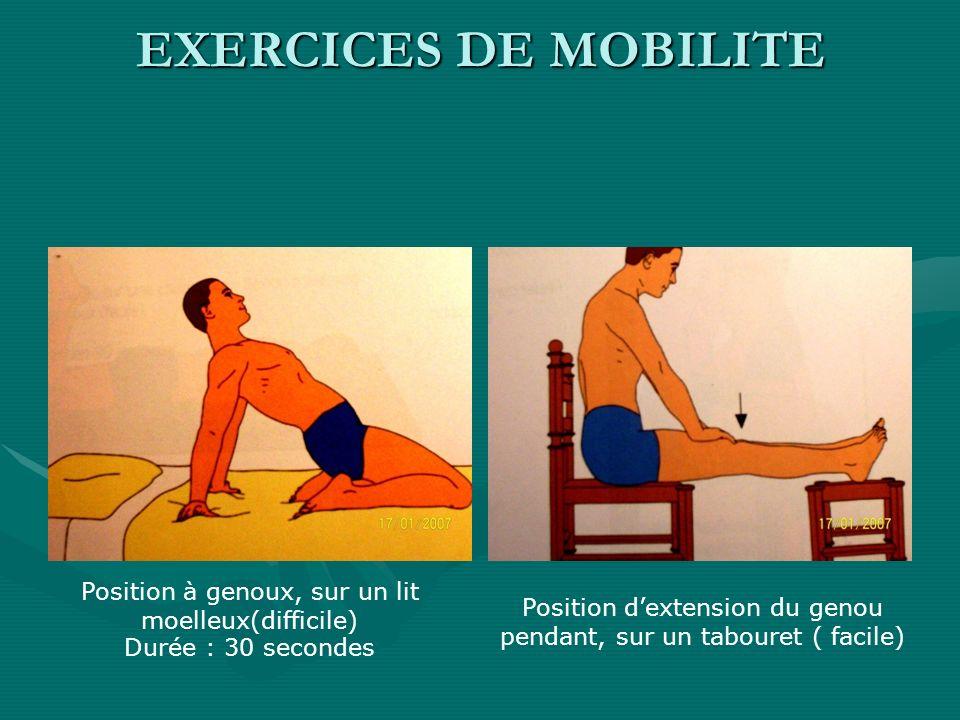 Position à genoux, sur un lit moelleux(difficile) Durée : 30 secondes Position dextension du genou pendant, sur un tabouret ( facile) EXERCICES DE MOB