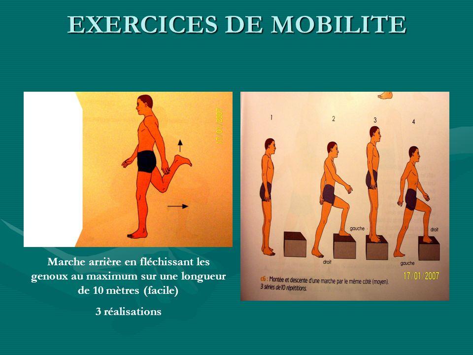 Marche arrière en fléchissant les genoux au maximum sur une longueur de 10 mètres (facile) 3 réalisations EXERCICES DE MOBILITE