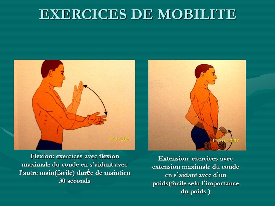 Flexion: exercices avec flexion maximale du coude en s aidant avec l autre main(facile) dur é e de maintien 30 seconds Extension: exercices avec exten