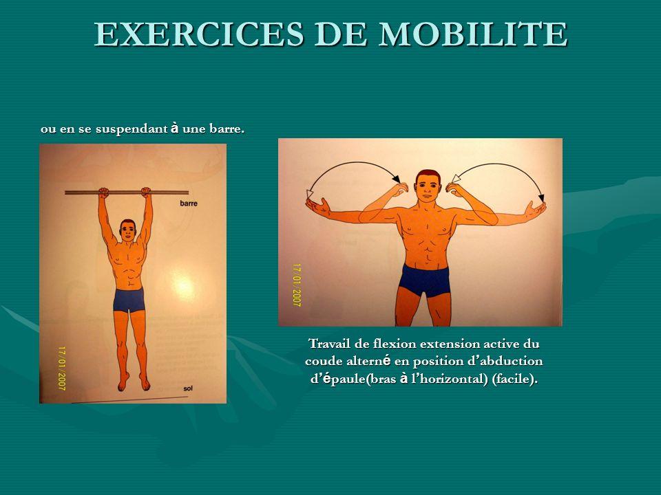 ou en se suspendant à une barre. Travail de flexion extension active du coude altern é en position d abduction d é paule(bras à l horizontal) (facile)