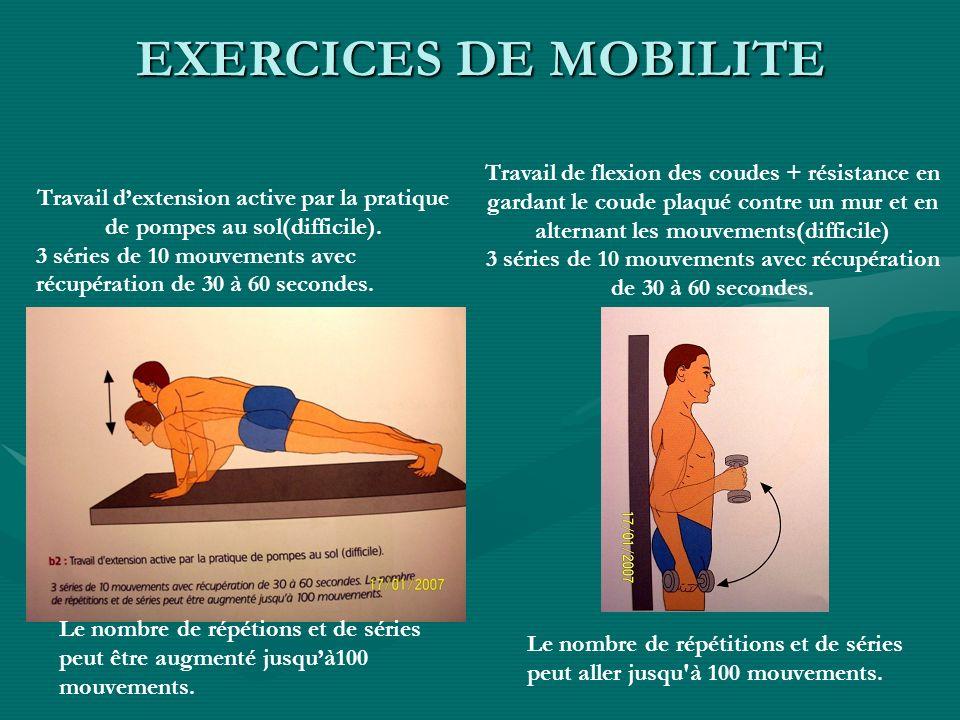 Travail dextension active par la pratique de pompes au sol(difficile). 3 séries de 10 mouvements avec récupération de 30 à 60 secondes. Le nombre de r
