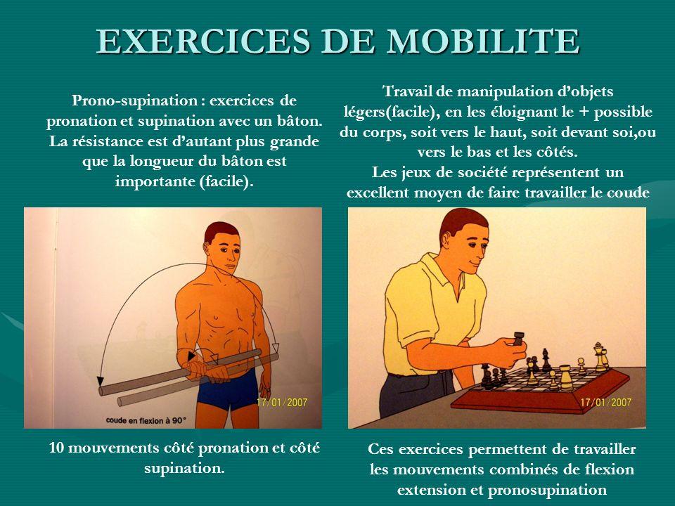 Prono-supination : exercices de pronation et supination avec un bâton. La résistance est dautant plus grande que la longueur du bâton est importante (