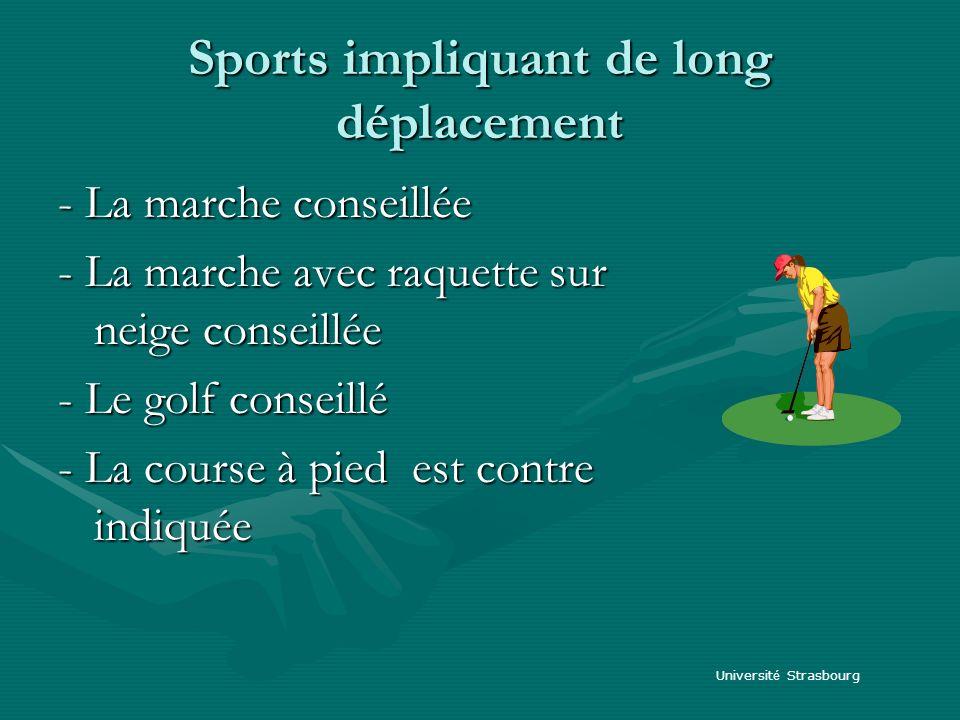 Sports impliquant de long déplacement - La marche conseillée - La marche avec raquette sur neige conseillée - Le golf conseillé - La course à pied est