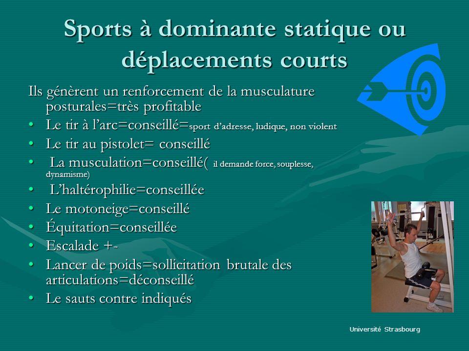 Sports à dominante statique ou déplacements courts Ils génèrent un renforcement de la musculature posturales=très profitable Le tir à larc=conseillé=