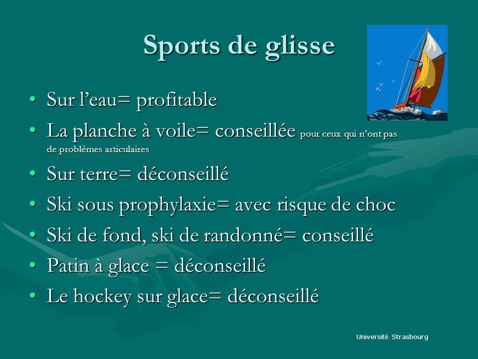Sports de glisse Sur leau= profitableSur leau= profitable La planche à voile= conseillée pour ceux qui nont pas de problèmes articulairesLa planche à