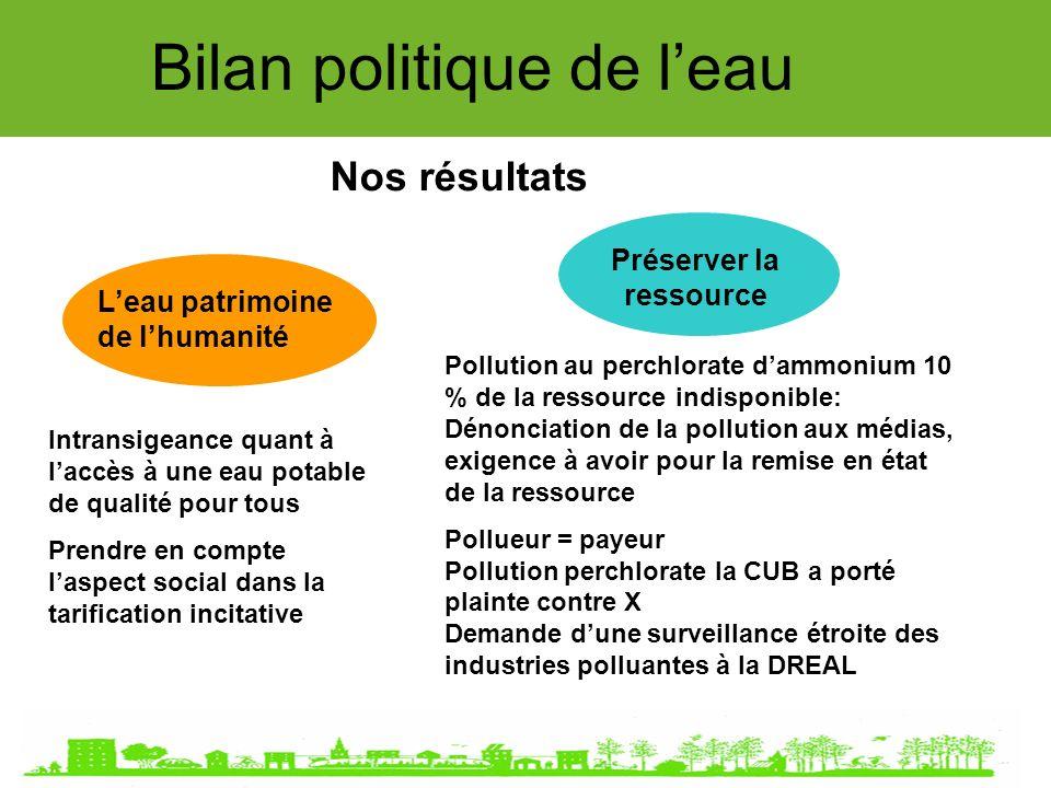 Bilan politique de leau Nos résultats Leau patrimoine de lhumanité Préserver la ressource Intransigeance quant à laccès à une eau potable de qualité p