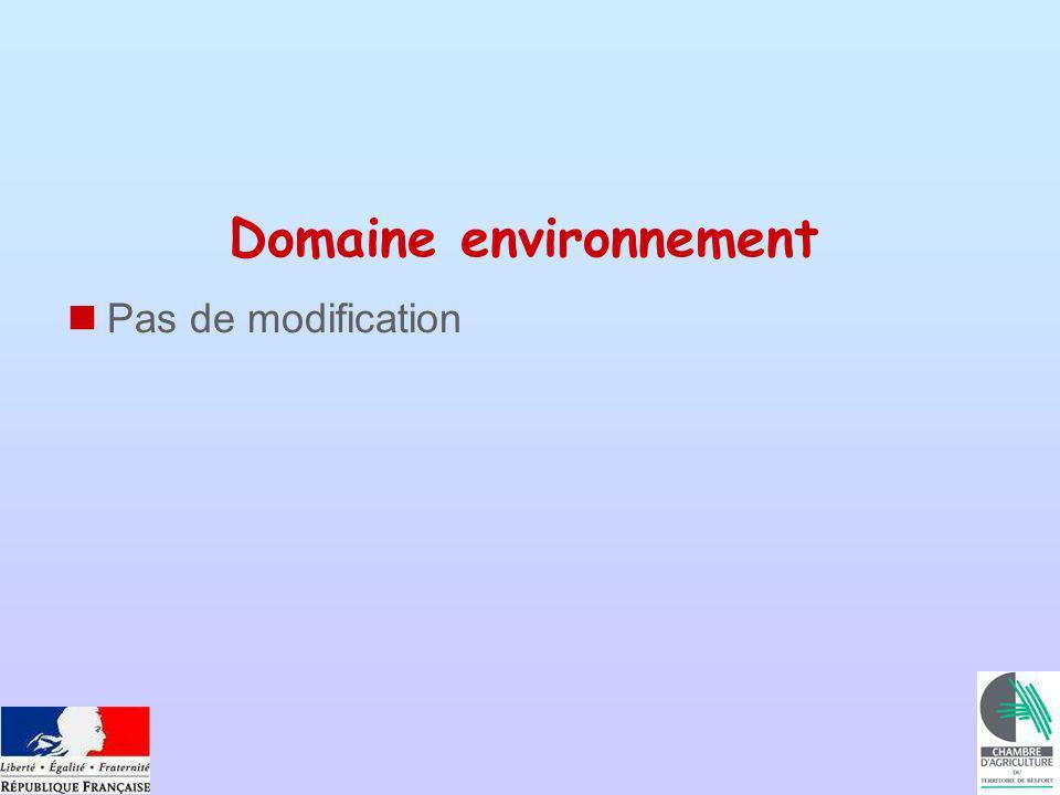 Domaine environnement Pas de modification