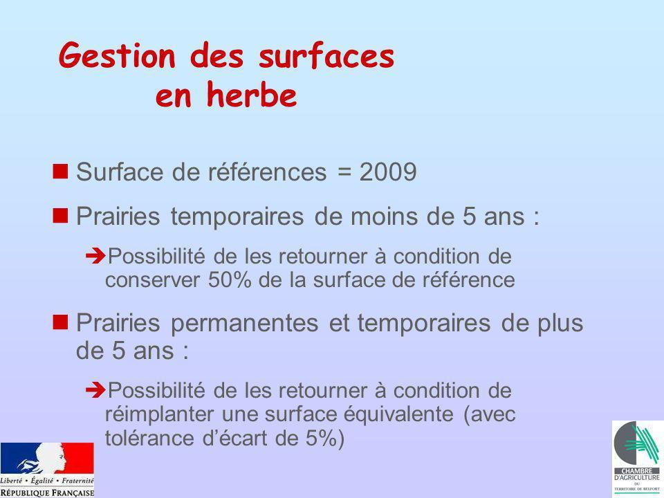 Gestion des surfaces en herbe Surface de références = 2009 Prairies temporaires de moins de 5 ans : Possibilité de les retourner à condition de conser