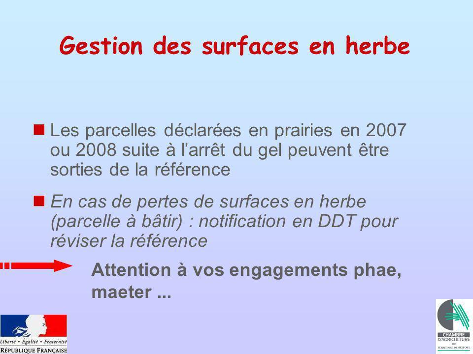 Gestion des surfaces en herbe Les parcelles déclarées en prairies en 2007 ou 2008 suite à larrêt du gel peuvent être sorties de la référence En cas de