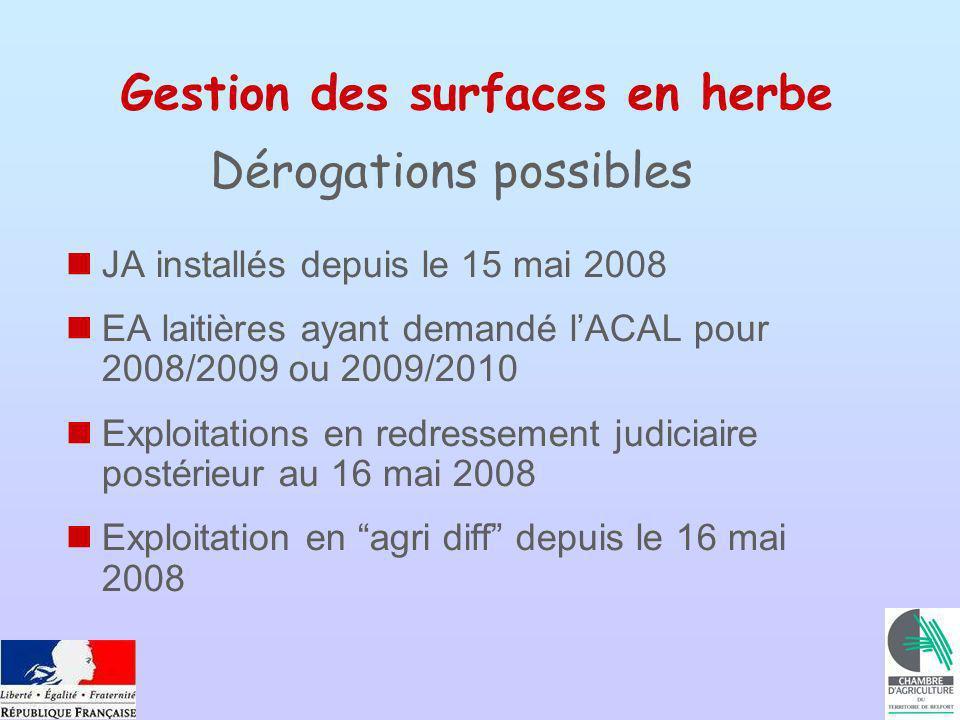 Gestion des surfaces en herbe JA installés depuis le 15 mai 2008 EA laitières ayant demandé lACAL pour 2008/2009 ou 2009/2010 Exploitations en redress