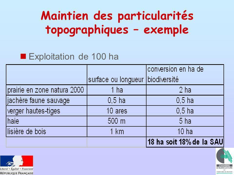 Exploitation de 100 ha Maintien des particularités topographiques – exemple