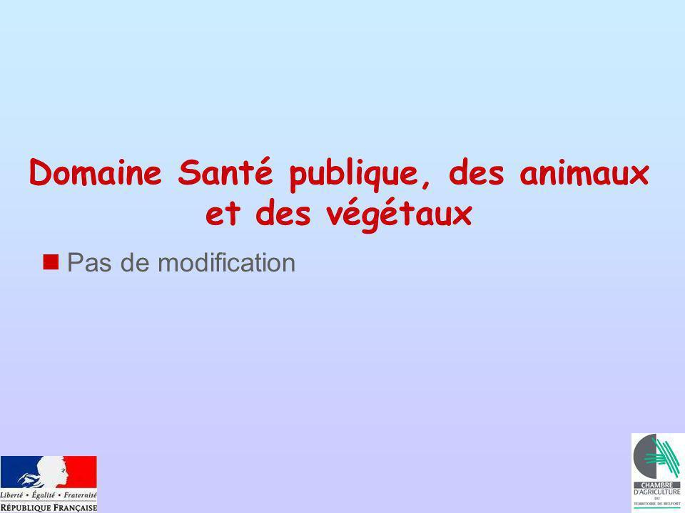 Domaine Santé publique, des animaux et des végétaux Pas de modification