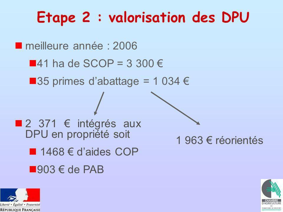 meilleure année : 2006 41 ha de SCOP = 3 300 35 primes dabattage = 1 034 1 963 réorientés Etape 2 : valorisation des DPU 2 371 intégrés aux DPU en propriété soit 1468 daides COP 903 de PAB
