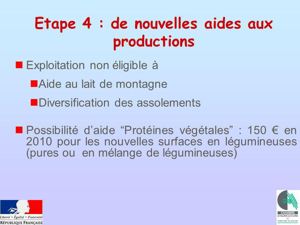 Etape 4 : de nouvelles aides aux productions Exploitation non éligible à Aide au lait de montagne Diversification des assolements Possibilité daide Protéines végétales : 150 en 2010 pour les nouvelles surfaces en légumineuses (pures ou en mélange de légumineuses)