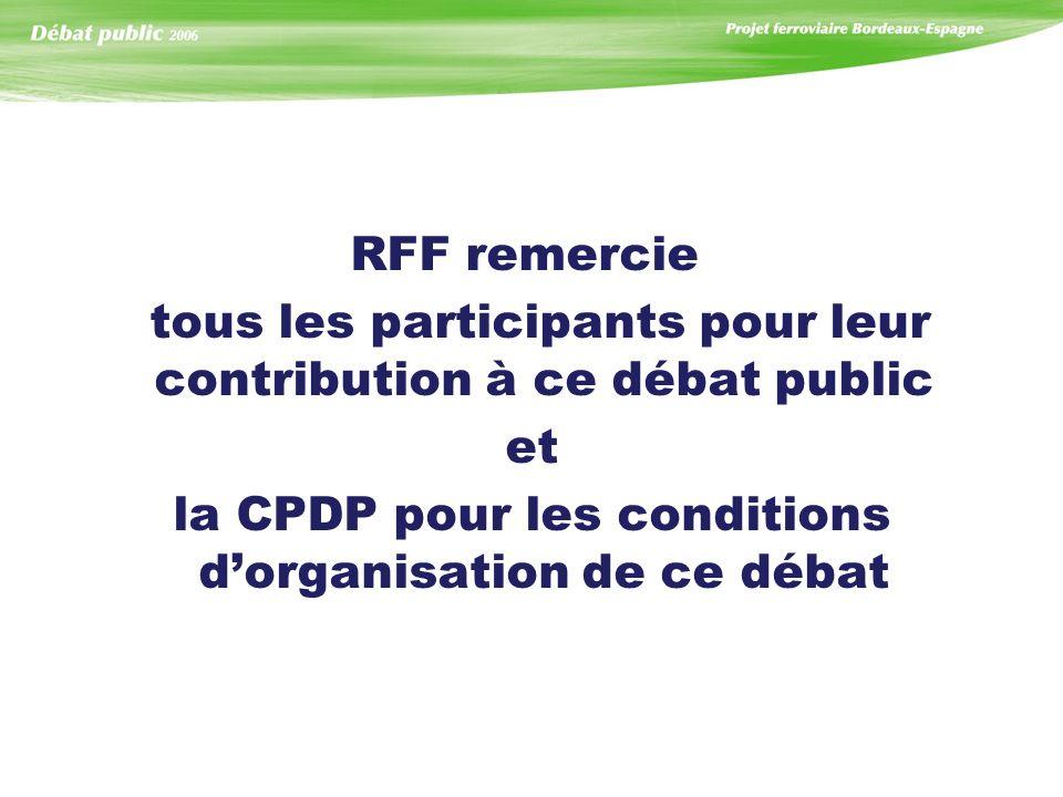 RFF remercie tous les participants pour leur contribution à ce débat public et la CPDP pour les conditions dorganisation de ce débat