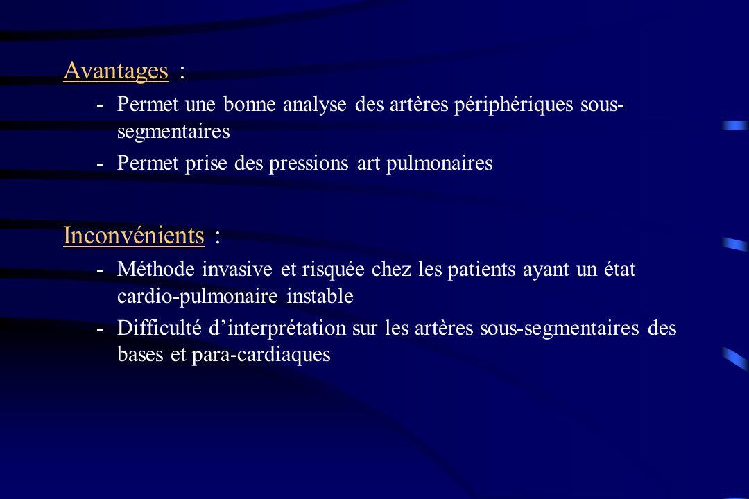Avantages : -Permet une bonne analyse des artères périphériques sous- segmentaires -Permet prise des pressions art pulmonaires Inconvénients : -Méthod