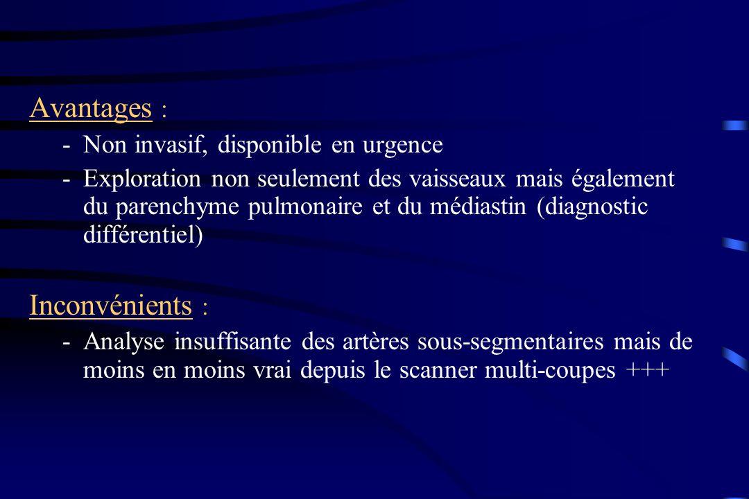 Avantages : -Non invasif, disponible en urgence -Exploration non seulement des vaisseaux mais également du parenchyme pulmonaire et du médiastin (diag