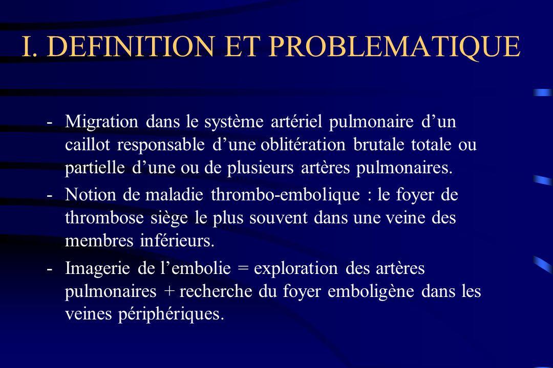 I. DEFINITION ET PROBLEMATIQUE -Migration dans le système artériel pulmonaire dun caillot responsable dune oblitération brutale totale ou partielle du