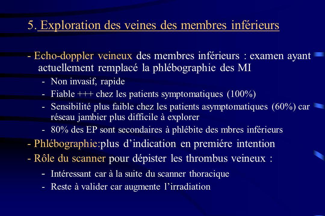 5. Exploration des veines des membres inférieurs - Echo-doppler veineux des membres inférieurs : examen ayant actuellement remplacé la phlébographie d