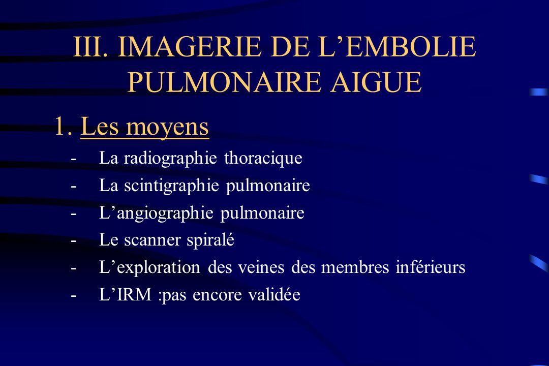 III. IMAGERIE DE LEMBOLIE PULMONAIRE AIGUE 1. Les moyens -La radiographie thoracique -La scintigraphie pulmonaire -Langiographie pulmonaire -Le scanne