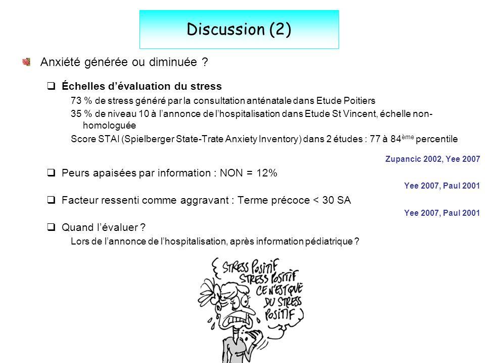 Discussion (2) Anxiété générée ou diminuée ? Échelles dévaluation du stress 73 % de stress généré par la consultation anténatale dans Etude Poitiers 3