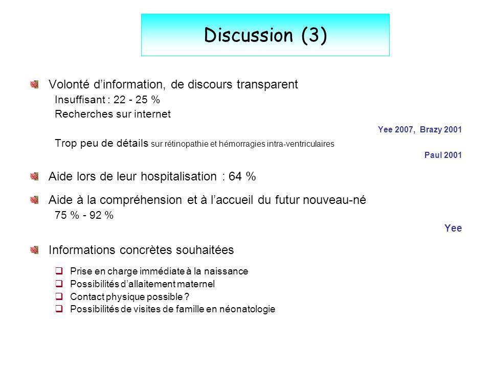 Discussion (3) Volonté dinformation, de discours transparent Insuffisant : 22 - 25 % Recherches sur internet Yee 2007, Brazy 2001 Trop peu de détails