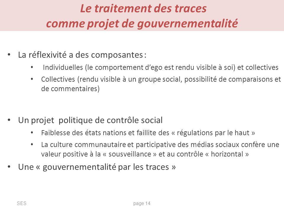 Le traitement des traces comme projet de gouvernementalité SESpage 14 La réflexivité a des composantes : Individuelles (le comportement dego est rendu