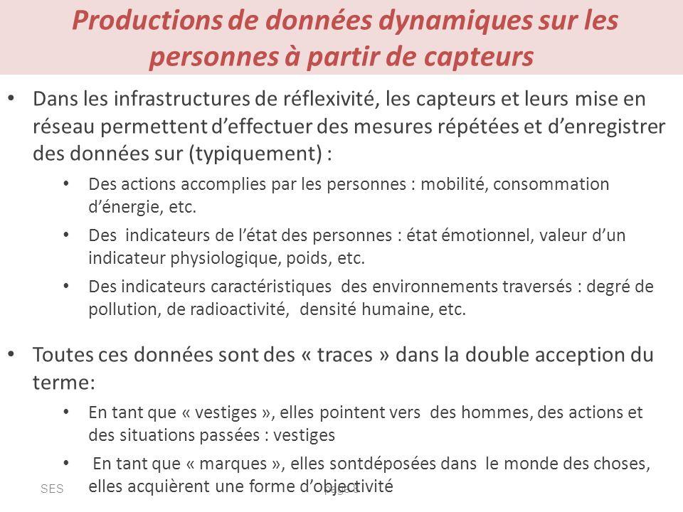 Productions de données dynamiques sur les personnes à partir de capteurs SESpage 8 Dans les infrastructures de réflexivité, les capteurs et leurs mise