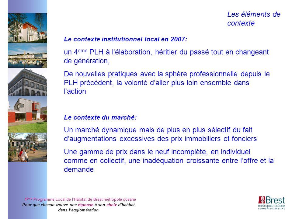 4 ème Programme Local de lHabitat de Brest métropole océane Pour que chacun trouve une réponse à son choix dhabitat dans lagglomération Le contexte in