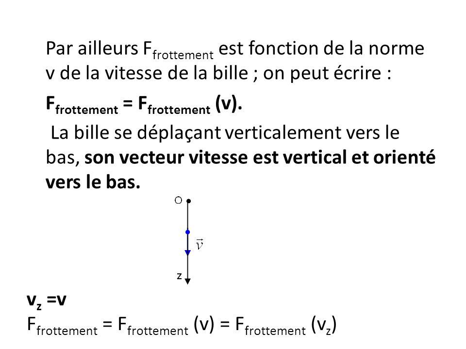 Par ailleurs F frottement est fonction de la norme v de la vitesse de la bille ; on peut écrire : F frottement = F frottement (v). La bille se déplaça