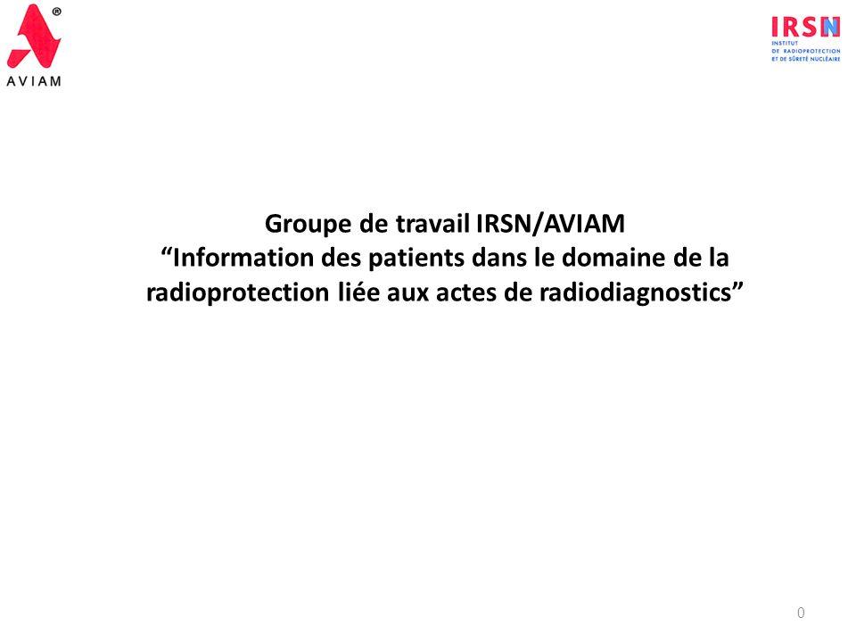 Groupe de travail IRSN/AVIAM Information des patients dans le domaine de la radioprotection liée aux actes de radiodiagnostics 0