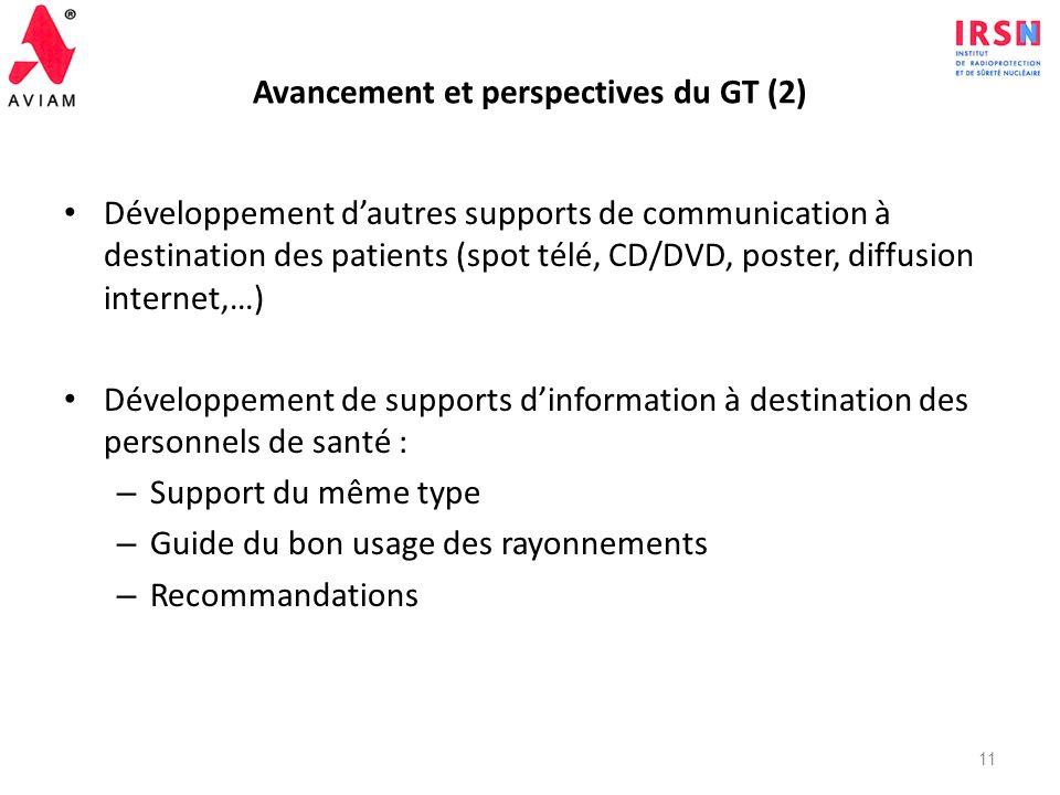 Avancement et perspectives du GT (1) Phase de test de la brochure : juillet – septembre 2011 – Test par différents membres du GT – Test auprès de memb
